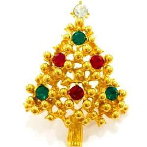 Vintage Avon Christmas Tree Brooch Gold Rhinestone